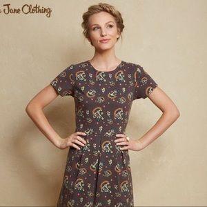 Matilda Jane Maja Ponte Brown Floral Dress Medium